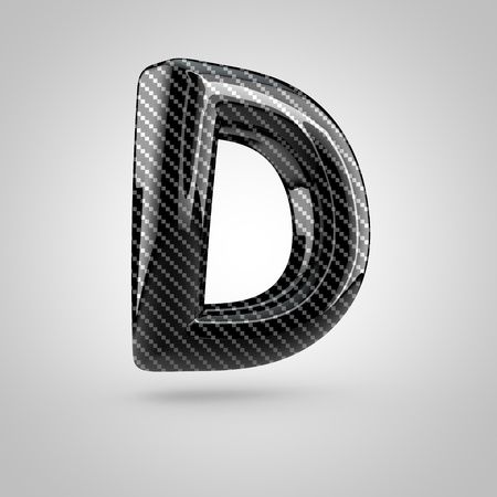 dark fiber: Black carbon letter D uppercase. 3D rendering font with glint and light reflections isolated on white background. Stock Photo