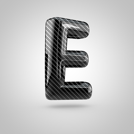 dark fiber: Black carbon letter E uppercase. 3D rendering font with glint and light reflections isolated on white background.