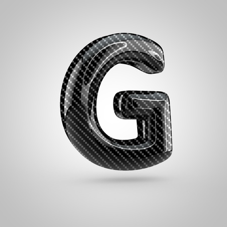 surface: Black carbon letter G uppercase. 3D rendering font with glint and light reflections isolated on white background.