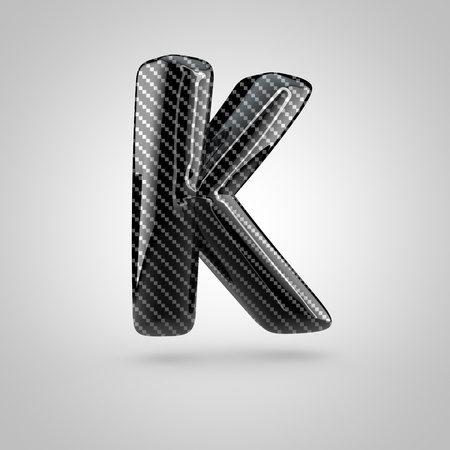 surface: Black carbon letter K uppercase. 3D rendering font with glint and light reflections isolated on white background.