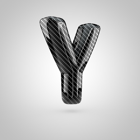 Black carbon letter Y uppercase. 3D rendering font with glint and light reflections isolated on white background.