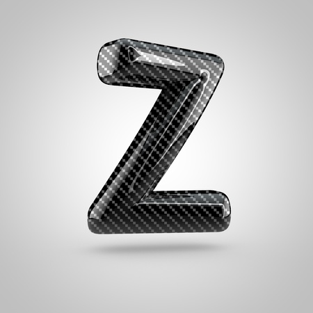 dark fiber: Black carbon letter Z uppercase. 3D rendering font with glint and light reflections isolated on white background. Stock Photo