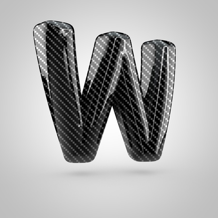 surface: Black carbon letter W uppercase. 3D rendering font with glint and light reflections isolated on white background. Stock Photo