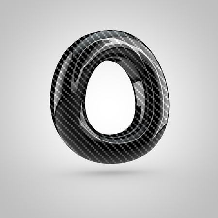 dark fiber: Black carbon letter O uppercase. 3D rendering font with glint and light reflections isolated on white background.