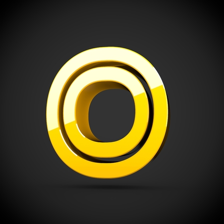 Yellow retro letter O uppercase. 3D render of glossy font with reflection isolated on black background.