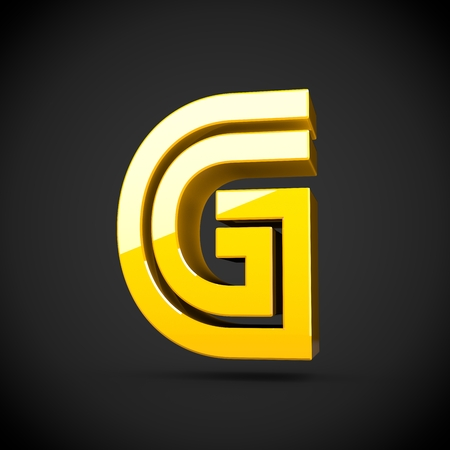 glint: Yellow retro letter G uppercase. 3D render of glossy font with reflection isolated on black background.