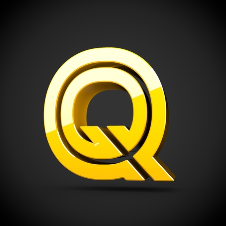 Yellow retro letter Q uppercase. 3D render of glossy font with reflection isolated on black background.