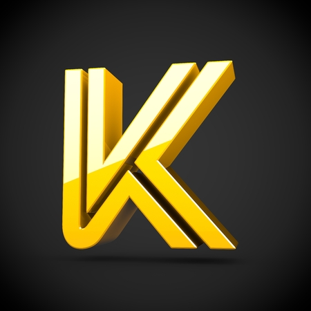 Yellow retro letter K uppercase. 3D render of glossy font with reflection isolated on black background.