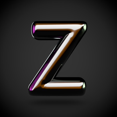 Glossy black letter Z uppercase. 3D rendering font with glint and colored lights reflections isolated on white background. Stock Photo