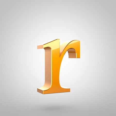 Gold letter R lowercase. 3D rendering serif font with tiny fillet and light reflection isolated on white background.