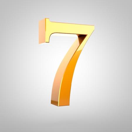 Numéro d & # 39 ; or 3d rendu rendu police serif avec un petit filet et lumière du jour isolé sur fond blanc Banque d'images - 79419597