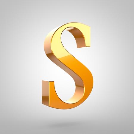 Lettre d'or S majuscule. Police de rendu 3D avec filet et réflexion de la lumière isolée sur fond blanc. Banque d'images - 79419603