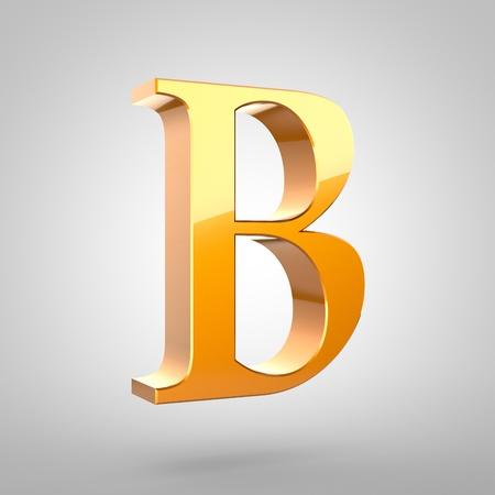 Majuscule lettre B en or. Polices serif de rendu 3D avec petit filet et réflexion de la lumière isolé sur fond blanc. Banque d'images - 79419608