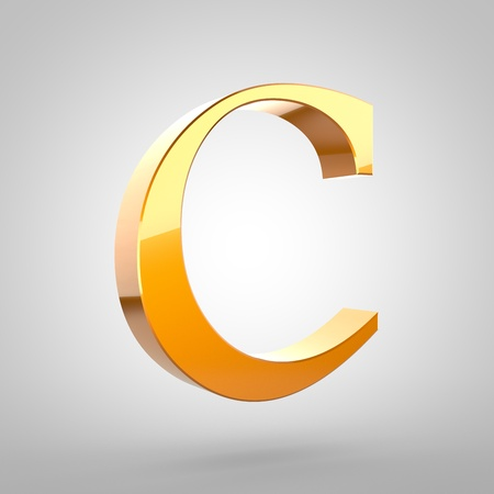 letter c: Gold letter C uppercase. 3D rendering serif font with tiny fillet and light reflection isolated on white background. Stock Photo
