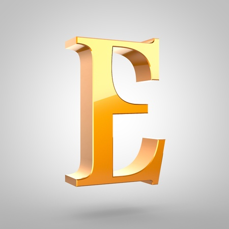 Gold letter E uppercase. 3D rendering serif font with tiny fillet and light reflection isolated on white background.
