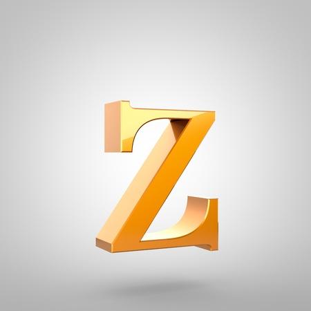 Lettre d'or Z minuscule. Police de rendu 3D avec filet et réflexion de la lumière isolée sur fond blanc. Banque d'images - 79419644