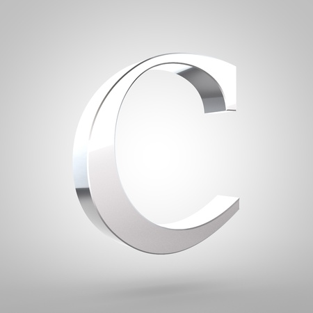 letter c: Silver letter C uppercase. 3D rendering serif font with tiny fillet and light reflection isolated on white background.