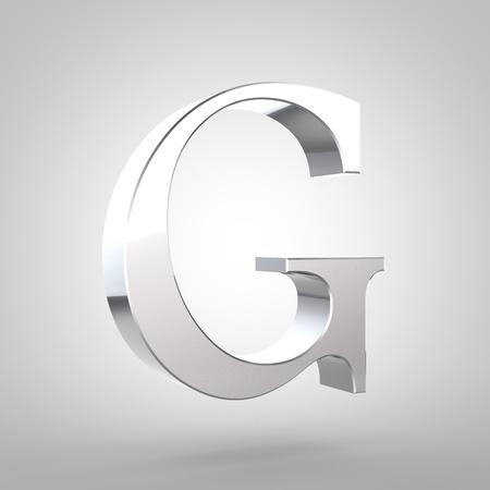 Lettre d & # 39 ; argent g 3d lettre h. police minuscule avec un petit insigne et lumière clair isolé sur fond blanc . Banque d'images - 80382346