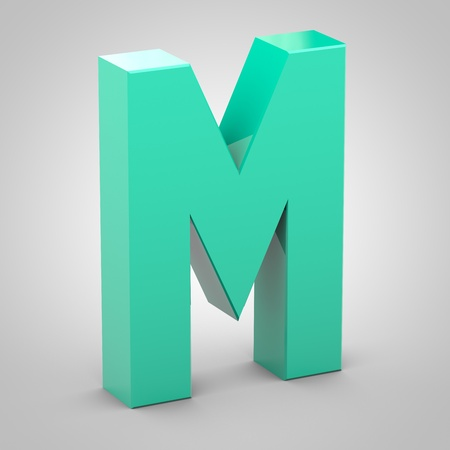 Isometric letter M uppercase. 3D rendering of mint color font with shadow isolated on white background.