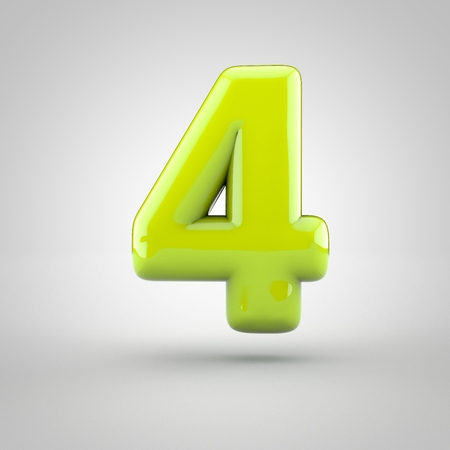 inflated: Glossy lime paint number 4. 3D render of bubble font with glint isolated on white background.