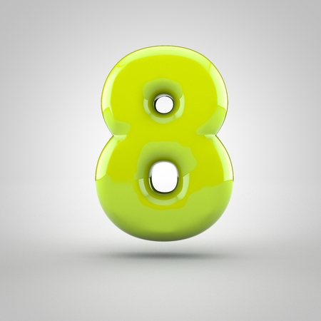 inflated: Glossy lime paint number 8. 3D render of bubble font with glint isolated on white background. Stock Photo