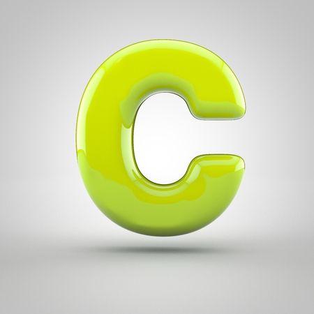letter c: Glossy lime paint letter C uppercase. 3D render of bubble font with glint isolated on white background. Stock Photo