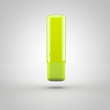 inflated: Glossy lime paint letter L lowercase. 3D render of bubble font with glint isolated on white background.
