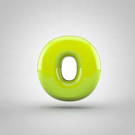 Glossy Lime Paint Letter O Lowercase 3d Render Of Bubble Font