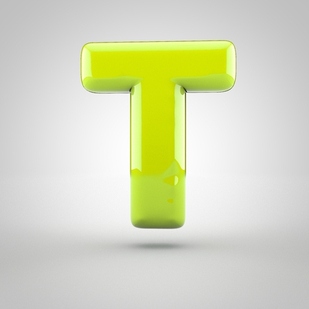 inflated: Glossy lime paint letter T uppercase. 3D render of bubble font with glint isolated on white background.