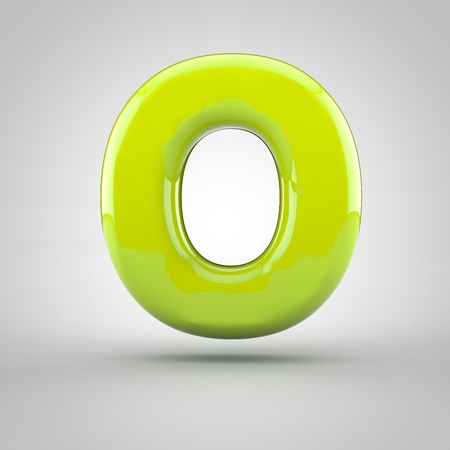 Glossy lime paint letter O uppercase. 3D render of bubble font with glint isolated on white background.