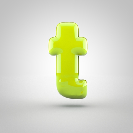 Glossy lime paint letter T lowercase. 3D render of bubble font with glint isolated on white background. Stock Photo
