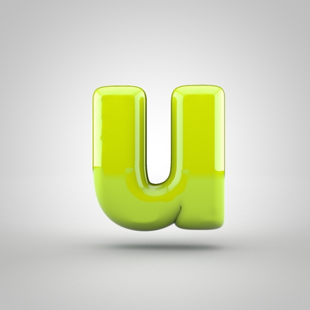 inflated: Glossy lime paint letter U lowercase. 3D render of bubble font with glint isolated on white background.