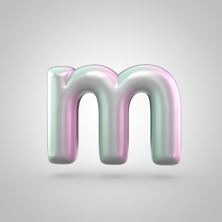 Glossy perl letter M uppercase. 3D render of bubble font with green with pink light reflections isolated on white background.