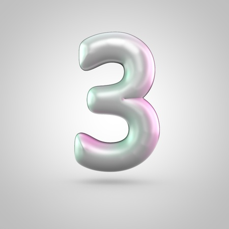 Glossy perl number 3. 3D render of bubble font with green with pink light reflections isolated on white background.