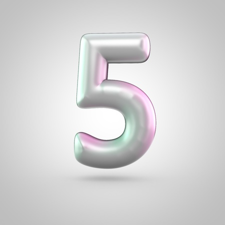 Glossy perl number 5. 3D render of bubble font with green with pink light reflections isolated on white background.
