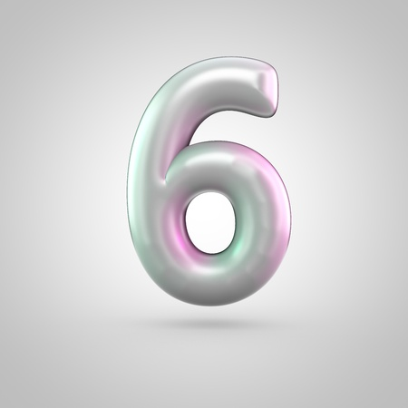 Glossy perl number 6. 3D render of bubble font with green with pink light reflections isolated on white background.