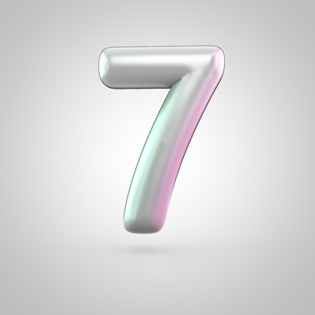 Glossy perl number 7. 3D render of bubble font with green with pink light reflections isolated on white background.