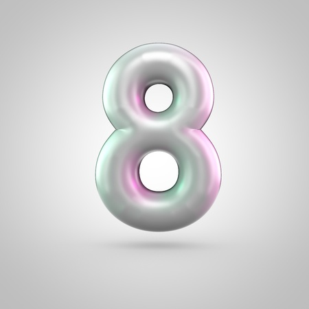 Glossy perl number 8. 3D render of bubble font with green with pink light reflections isolated on white background. Stock Photo