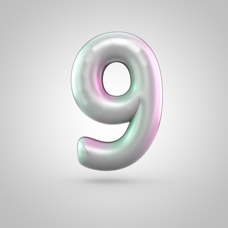 Glossy perl number 9. 3D render of bubble font with green with pink light reflections isolated on white background.