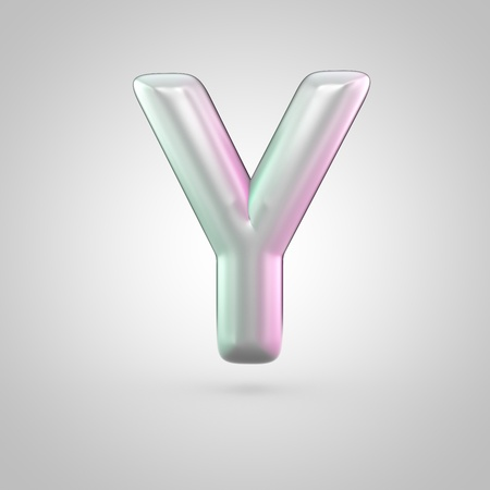 Glossy perl letter Y uppercase. 3D render of bubble font with green with pink light reflections isolated on white background. Stock Photo
