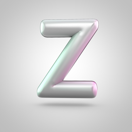 Glossy perl letter Z uppercase. 3D render of bubble font with green with pink light reflections isolated on white background.
