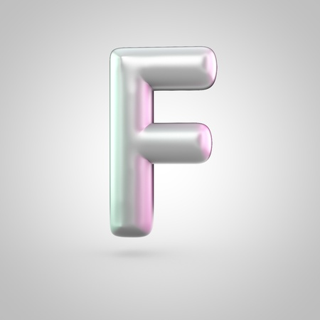 Glossy perl letter F uppercase. 3D render of bubble font with green with pink light reflections isolated on white background.