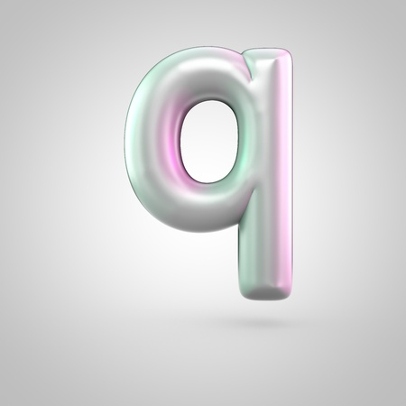 Glossy perl letter Q uppercase. 3D render of bubble font with green with pink light reflections isolated on white background. Stock Photo