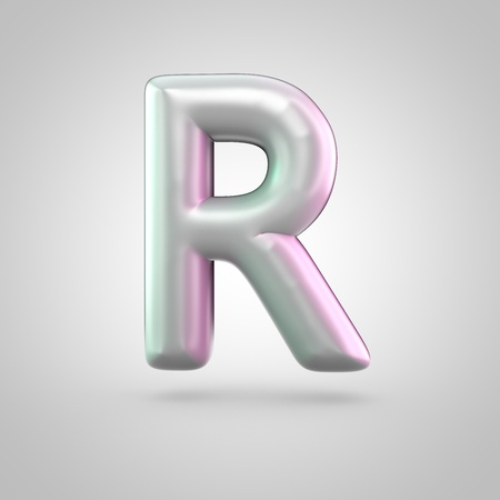 Glossy perl letter R uppercase. 3D render of bubble font with green with pink light reflections isolated on white background. Stock Photo
