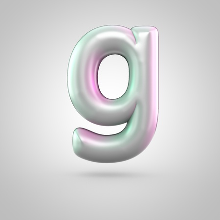 Glossy perl letter G uppercase. 3D render of bubble font with green with pink light reflections isolated on white background. Stock Photo