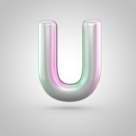 Glossy perl letter U uppercase. 3D render of bubble font with green with pink light reflections isolated on white background. Stock Photo