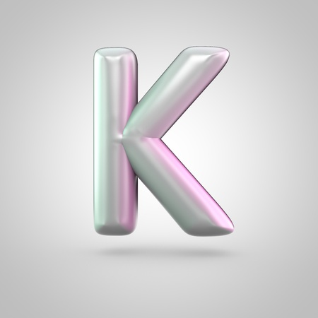 Glossy perl letter K uppercase. 3D render of bubble font with green with pink light reflections isolated on white background.
