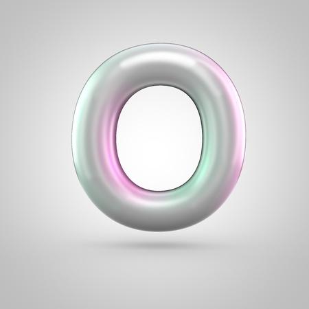 Glossy perl letter O uppercase. 3D render of bubble font with green with pink light reflections isolated on white background. Stock Photo