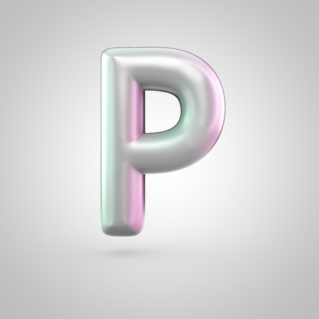 Glossy perl letter P uppercase. 3D render of bubble font with green with pink light reflections isolated on white background.