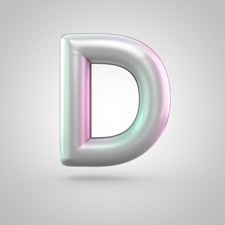 Glossy perl letter D uppercase. 3D render of bubble font with green with pink light reflections isolated on white background. Stock Photo